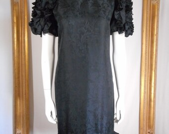 Vintage 1980's I. Magnin Black Silk Dress - Size 8