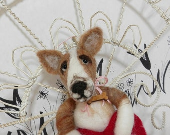Needle felted corgi puppy ornament in wool heart with bone for pet lover, Corgi dog, Pet Pockets, wool pet, ready to mail ornament