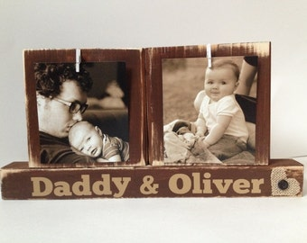 Father's Day gift personalized with name and pictures daddy dad father gift sepia wooden blocks Christmas gift for father grandpa dad