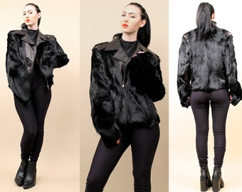 80s 90s Vtg DOLCE & GABBANA Lambskin+Goat Fur Black Avant Garde MOTORCYCLE Biker Zip Up Jacket /sz '40' Authentic Italy / Like New Med - Lrg
