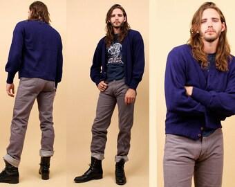 70s 80s Vtg Mens Navy Blue KNIT Cardigan Sweater / V Neck Button Up Sweater / Mod Minimalist Preppy / Grunge Rocker / Sz Medium