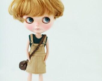 Miss yo Bib Skirt for Blythe doll - doll outfit - Beige