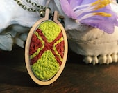 Abstract green and brown embroidered necklace in mini hoop