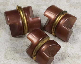 3 Vintage Rosy Brown Celluloid Toggle Buttons 5/8 Inch 16mm Gold Band Sewing Buttons