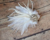 Feather and Rhinestone Wedding Hair Piece - choose your embellishment