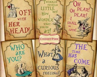 ALICE in WONDERLAND QUOTES decoration, party printable digital collage sheet for your wonderland party