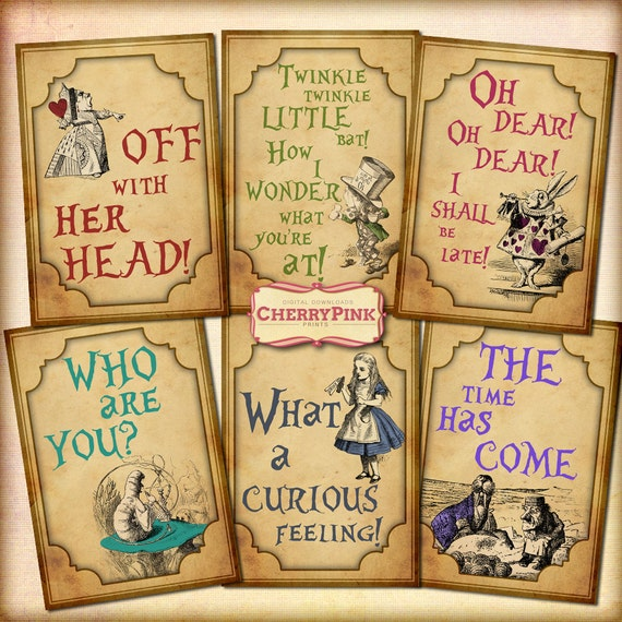 Printable Alice In Wonderland Quotes: Items Similar To ALICE In WONDERLAND QUOTES Decoration