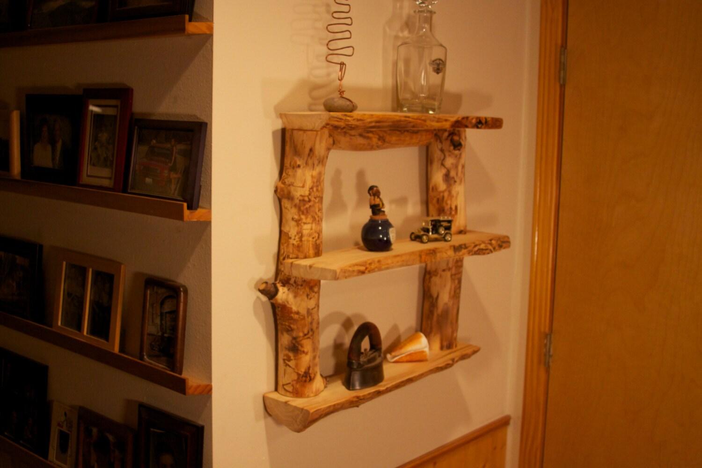 Aspen log shelves rustic home decor modern rustic decor for Aspen logs for decoration