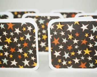 Blank Mini Cards, Stars Card, Starry Night Sky Cards, Yellow Stars, Square Cards, 3x3 Cards with Envelopes, Stars Tags, Blank Cards Stars