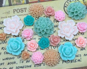 20pcs - Resin Flower Cabochons - Pink, Peach, Teal
