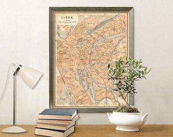 Liege map - Old map print - Vintage map reproduction - Fine art print