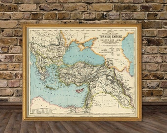Historic map - Turkish Empire map  - Balkan Peninsula  map - Middle East map