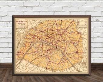 Plan de  Paris - Old map of Paris - Paris vintage map - Fine print