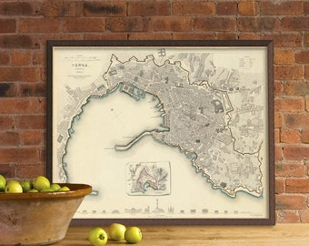Genoa vintage map print - Antique map of Genoa (Italy)  - Wall map reproduction