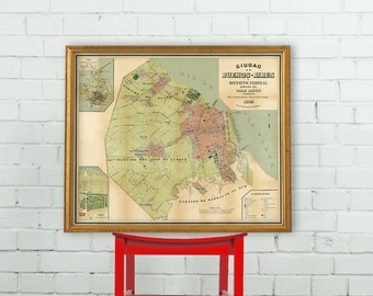 Old map of Buenos Aires - Argentina - City plan of Buenos Aires - Wonderful vintage map reproduction