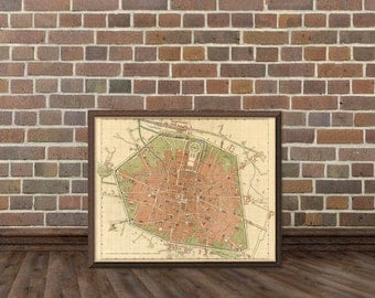 Vintage map of Bologna - Bologna map - Old map of Bologna print - Fine reproduction