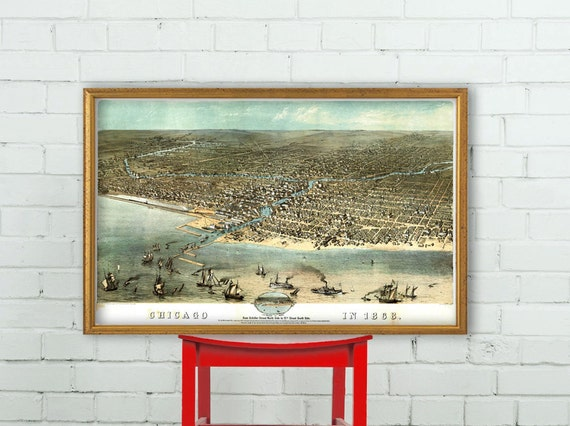 Chicago poster - panoramic  map - Birds eye view of Chicago - Chicago illustration