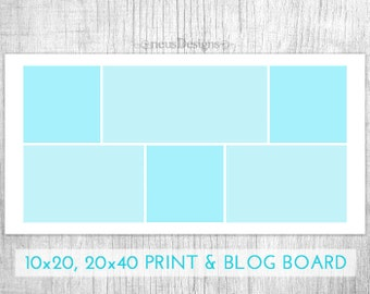 Photo Collage Template, 10x20, 20x40 Storyboard for photographers and 450x900px for blog boards, 6 pictures