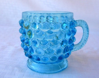EAPG blue mug hobnail pattern with twist handle late 1800s