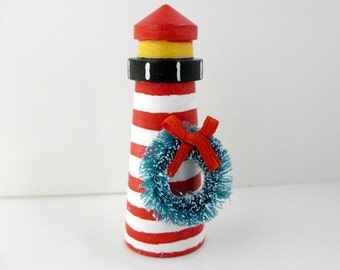 Lighthouse Ornament - Wedding favor lighthouse decor - Christmas ornament, beach wedding party favor, West Quoddy lighthouse, gift under 15