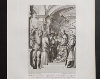 Antique Engraving 1860 Christ before Caiaphas Engraver Christian von Mechel after Holbein