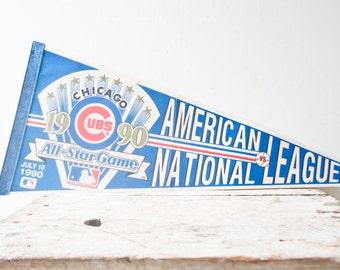 Vintage Chicago Cubs Pennant - American National League All Star Game Pennant Baseball Souvenir Vintage Pennant 1990