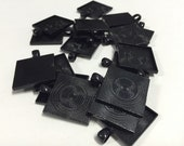 "17 square pendant trays, 25mm black pendant, 1"" jewelry destash, antique brass pendant trays"