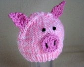 Pink Pig Hat for Baby, Pig Hat for Toddlers, Piggy Hat for Baby Girls, Piglet Hat, Hand Knit & Crochet Animal Beanie - Photo Prop Pig Hat