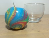 Medium Round Yellow Red Green and Blue Marbled Candle