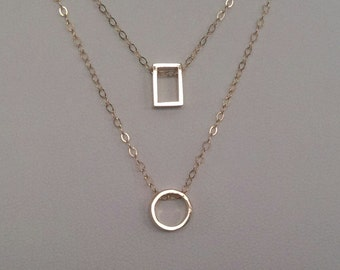 2 layers geometry minimalist, everyday necklace, tarnish resistant