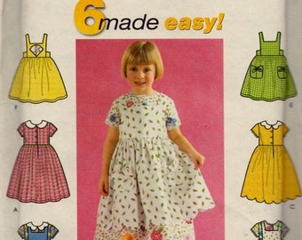 Simplicity 9207 Child's Dress and Sundress or Pinafore Pattern, UNCUT, Size 2-3-4, Party Dress, Wedding, Flower Girl, 6 Made Easy, 2000