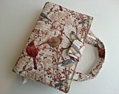 Quilted Bible Cover in Winter Birds print with optional handles Custom made to fit your Bible