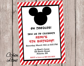 Printable Mickey Mouse Birthday Party Invitation.  Mickey Mouse Clubhouse Invitation.  Mickey Invite. Red and Black.