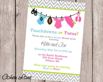 Gender Reveal Invitation. Touchdowns or Tutus Gender Reveal Invite. Gender Reveal Invite. Gender Reveal Ideas. Touchdowns or Tutus.
