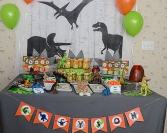 Dino Birthday Party Custom Name Banner