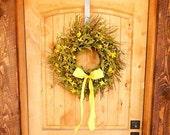 Summer Door Wreath-Summer Twig Wreath-Farmhouse Decor-COUNTRY YELLOW Bay Leaf Twig Wreath-Rustic Wreath-Scented Door Wreath-Custom Made Gift