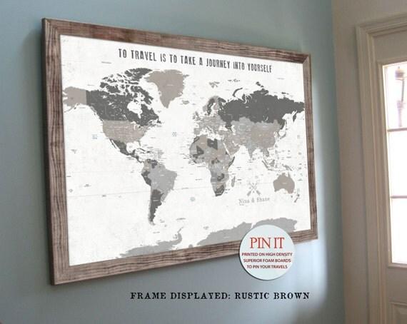 World Map Push Pin World Map World Map Wall Art Rustic Wall - World map poster push pins