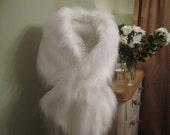 White Fox Faux Fur, Stole, Wrap, Shrug, Shawl, Wedding Stole, Wedding Wrap, Extra Large Faux Fur Wrap
