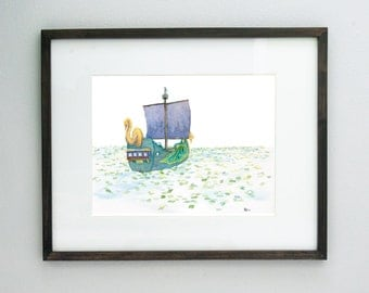 The Sea of Lilies Narnia Print 4x6 8x10 - Archival Quality Watercolor Giclee - Chronicles of Narnia Dawn Treader Art