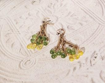 Green Yellow Burnished Gold Dangle Earrings