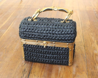 1960's Brass Framed Basket Purse / Vintage Pill Pox  / Metal Handle Handbag