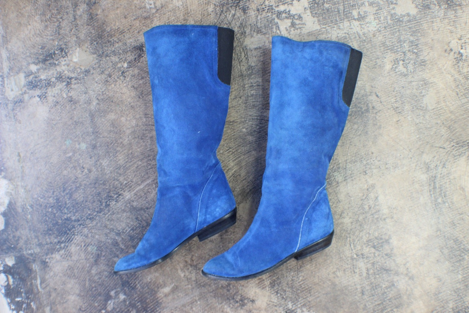 vintage royal blue suede boots by