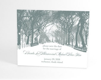 Winter Save the Date Cards, Winter Wonderland Wedding, City Park Theme, Snow Covered Path with Bare Branch Trees