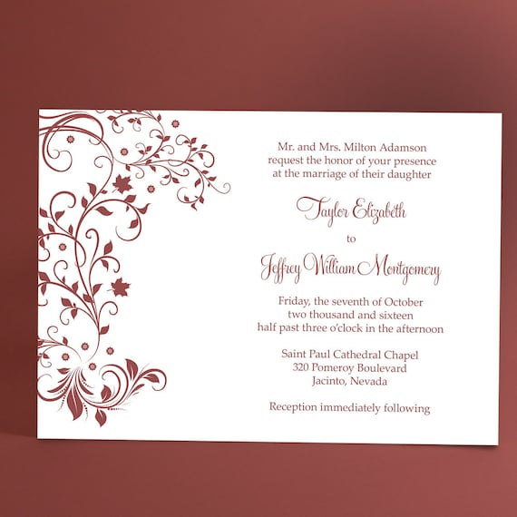 Vineyard Ivy Wedding Invite with graceful swirls, floral vines, forest leaves. Wedding invitations available in a wide variety of color!