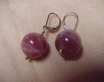 Pair of VintageTigereye Earrings, 15MM, 14K Yellow Gold Leverbacks