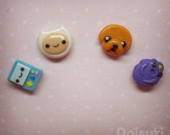 Adventure Time Hand-sculpted Earrings - Mix & Match set of 4 = Finn + Jake + Beemo + LSP