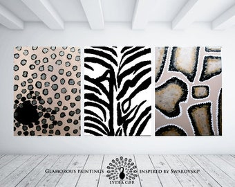 Hunting decor WILD large art triptych. Hunting home decor. Leopard snake zebra afro art. African art. African decor. Hunting art safari.