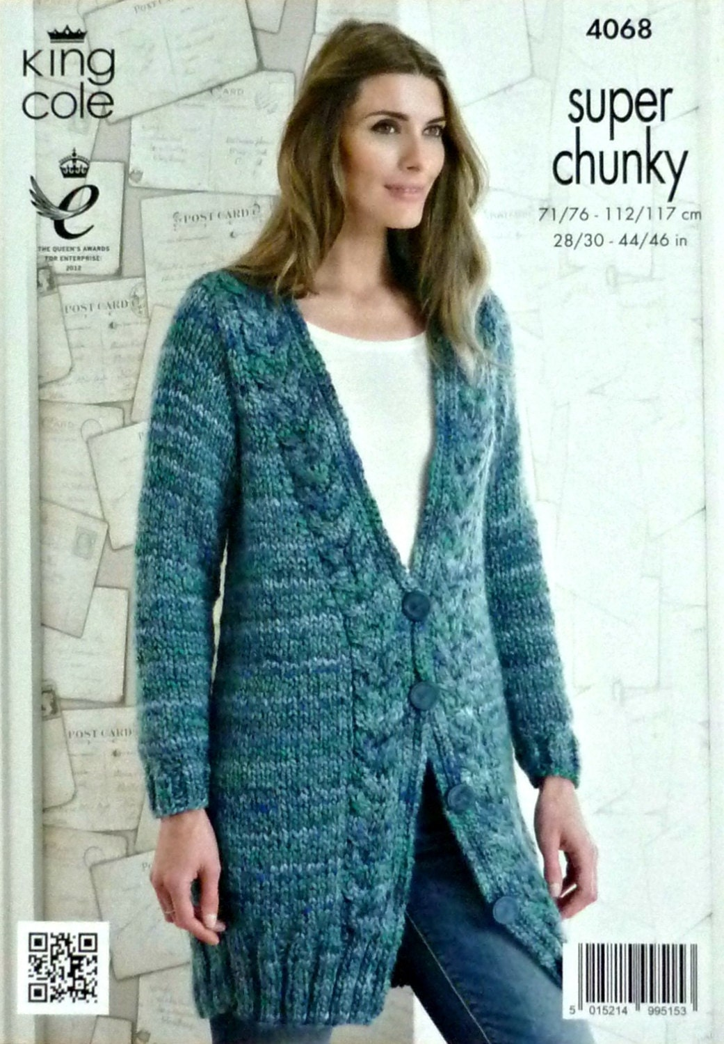 Womens Knitting Pattern K4068 Ladies Long Sleeve Deep V-Neck Long Cable Cardi...