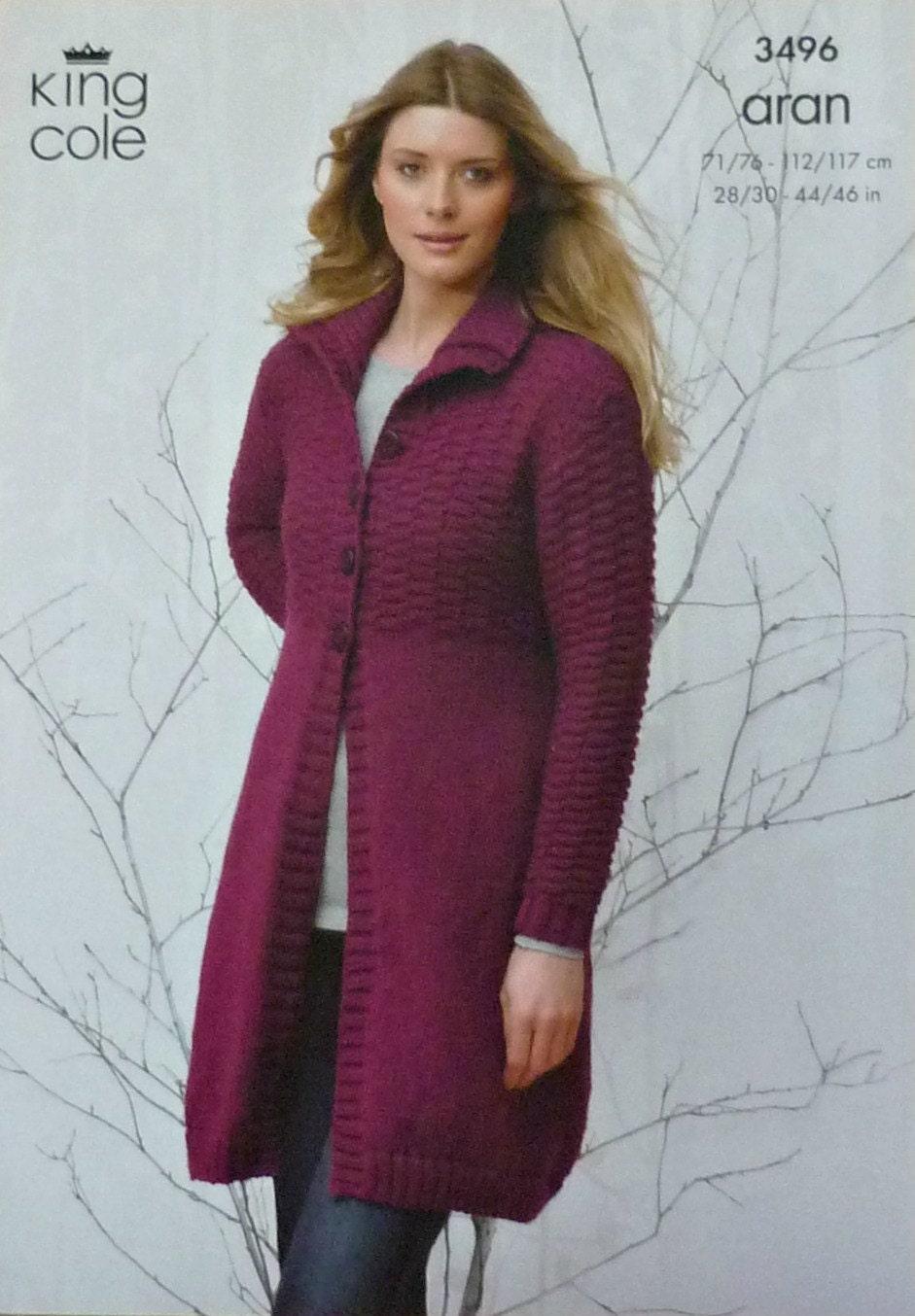 Knitting Pattern Ladies Long Coat : Womens Knitting Pattern K3496 Ladies Long Sleeve Textured ...