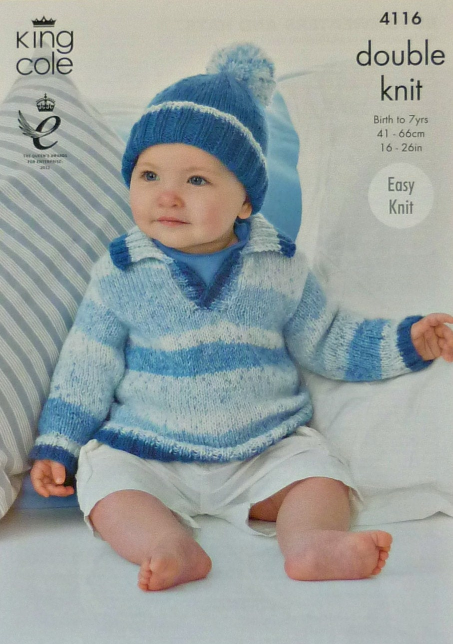 Baby Knitting Pattern K4116 Babies/Toddlers Long Sleeve Jumper with Collar an...